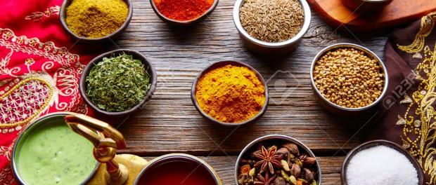 Indian cuisine spices mix as coriander curry  cardamom cumin