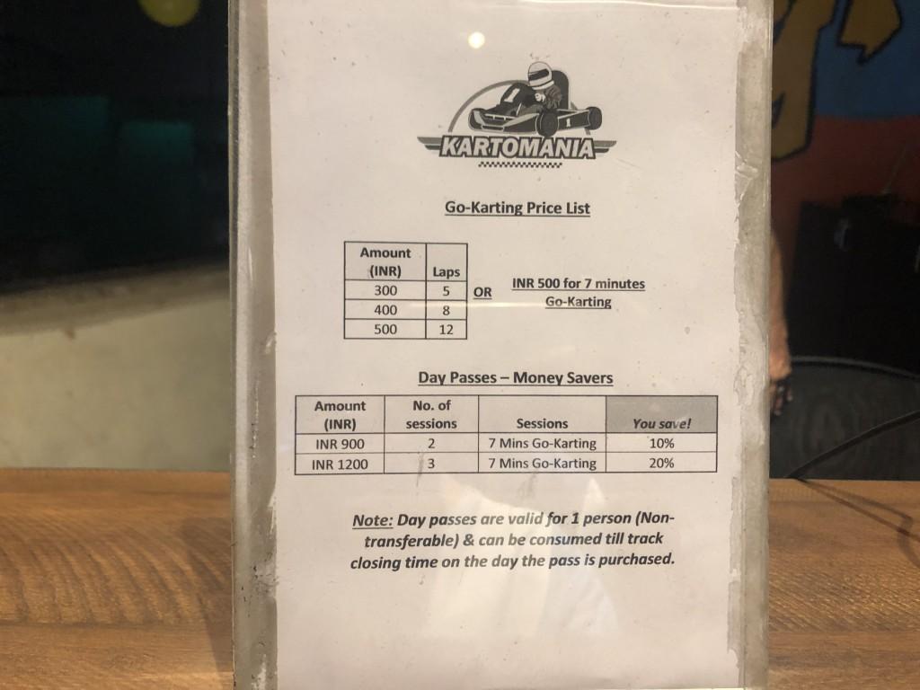 インド ゴーカート 料金